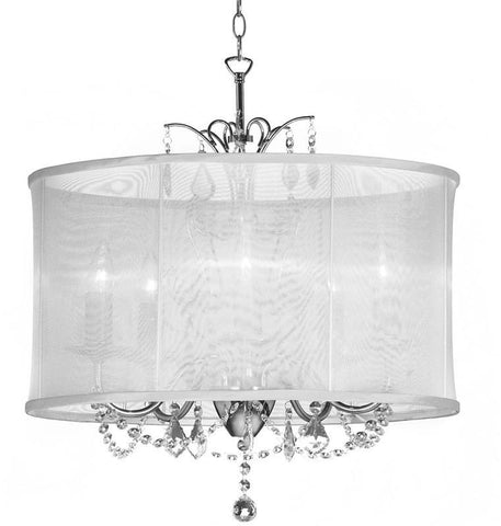 Dainolite 5 Lite  Polished Chrome Maple Droplets Crystal Chandelier With White Organza Shade VNA-20-5-119 - Peazz.com