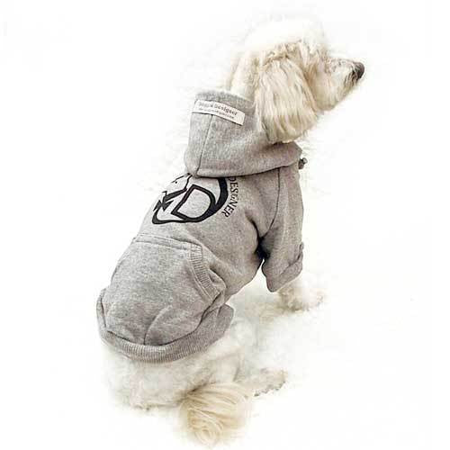 Hooded Dog Sweatshirts Grey