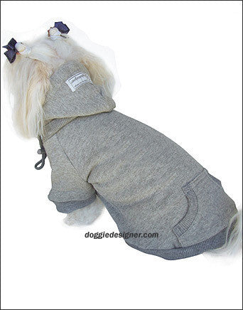 Blank Hooded Dog Sweatshirts Grey