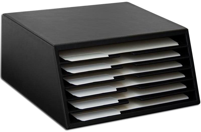 Black Leather 6-Tray File Sorter A1097 by Decasso DEC-A1097