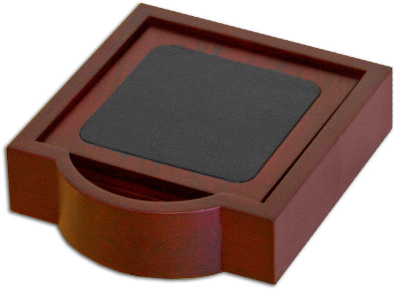 Wood & Leather 4 Square Coaster Set with Holder A8045 by Decasso