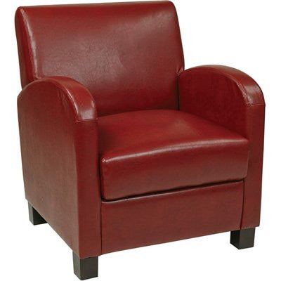 Office Star OSP Designs MET807RRD Club Chair in Crimson Red Eco Leather with Espresso Legs - Peazz.com