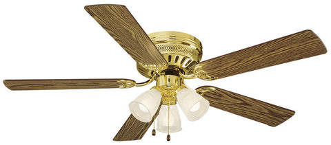 "Design House 156604 #156604 Millbridge Hugger Ceiling Fan 52"" Polished Brass Polished Brass - Peazz.com"