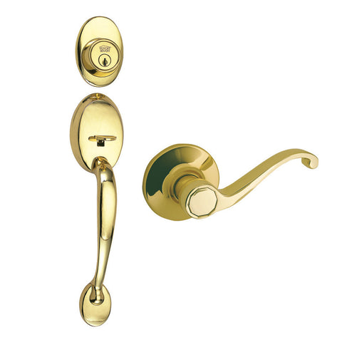 Design House 512418 Covtry Handleset/Scroll/Web Polished Brass - Peazz.com