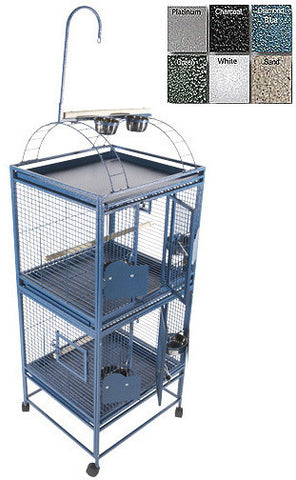 "A&E Cage 2422-2 Black 24""x22"" Double Stack Cage with Play Top - Peazz.com"