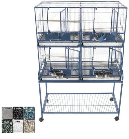 A&E Cage 4020-2 Black 4 Unit Cage with Stand and Removable Divider - Peazz.com