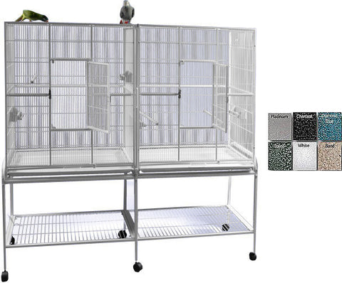 "A&E Cage 6421 Black 64""x21"" Double Flight Cage with Divider - Peazz.com"