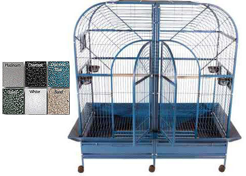 "A&E Cage 6432 Black 64""x32"" Double Macaw Cage with Removable Divider - Peazz.com"