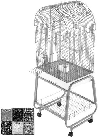 A&E Cage 701 White Opening Dome Top, Plastic Base, Metal Stand the separates - Peazz.com