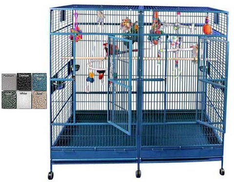 "A&E Cage 8040FL Black  80""x40"" Double Macaw Cage with Divider - Peazz.com"