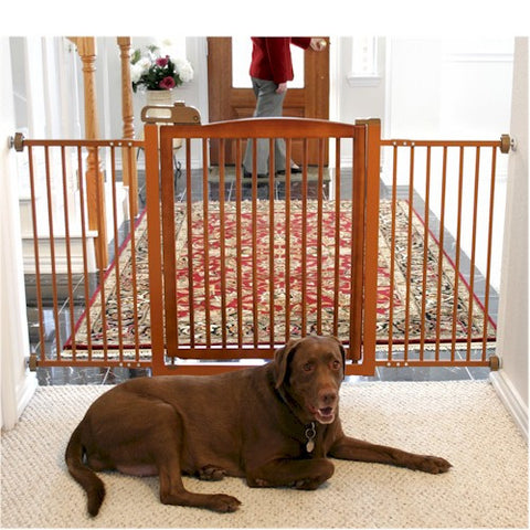 Extra Wide Tension Mount Pet Gate - Brown - Peazz.com
