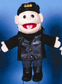 "14"" Biker Girl Glove Puppet w/ Black Hair - Peazz.com"