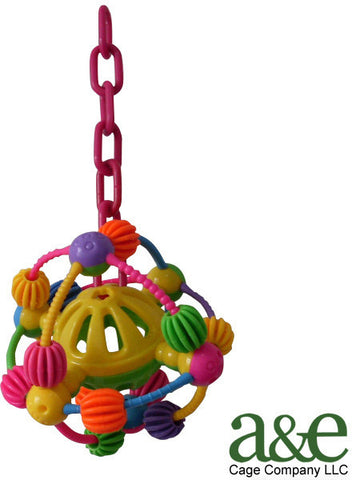 A&E Cage HB209 Space Ball on a Chain Happy Beaks Bird Toy - Peazz.com