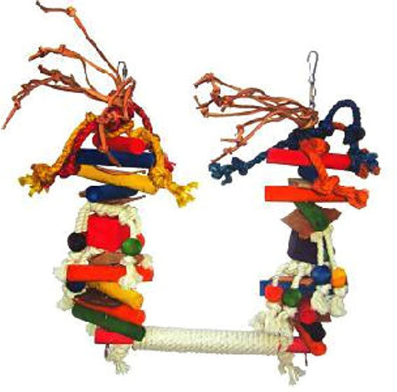 A&e Cage Hb46259 Large Rope Swing With Wood Blocks And Leather Bird Toy