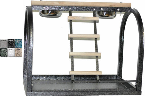A&E Cage J11 Black 21'x14'x18' Table Stand with Ladders and Cups - Peazz.com