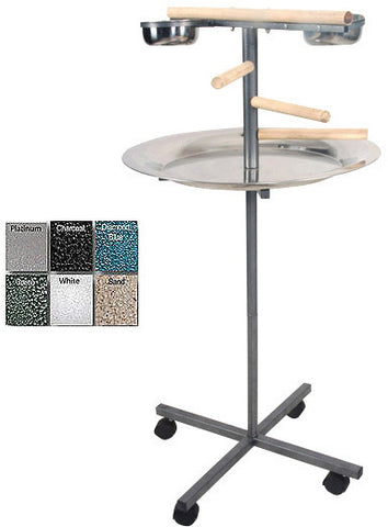 "A&E Cage J13 Black 24""x24""x45"" Round Play Stand with Wooden Steps - Peazz.com"