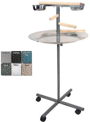 "A&E Cage J13 Platinum 24""x24""x45"" Round Play Stand with Wooden Steps - Peazz.com"