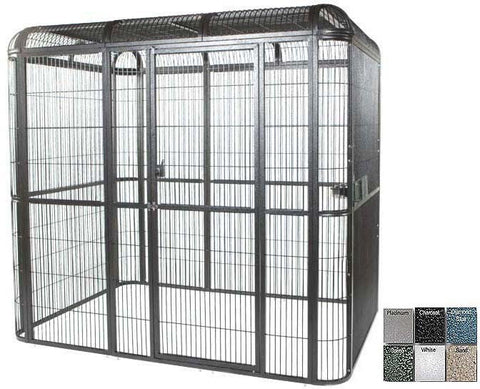"A&E Cage WI8561 Black 85""x61"" Walk In Aviary - 1/2"" Bar Spacing - Peazz.com"