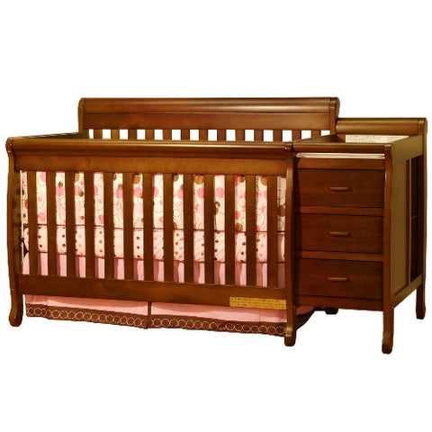 AFG Athena Kimberly Convertible Crib and Changer Combo in Espresso 518E - Peazz.com