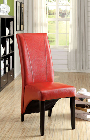 Furniture of America IDF-3666RD-2PK Parson's Style Leatherette Accent-Dining Chair, Red (set of 2) - Peazz.com