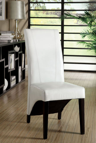 Furniture of America IDF-3666WH-2PK Parson's Style Leatherette Accent-Dining Chair, White (set of 2) - Peazz.com