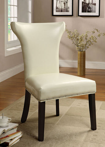 Furniture of America IDF-AC6661WH-2PK White Modern Leatherette Accent-Dining Chair (set of 2) - Peazz.com