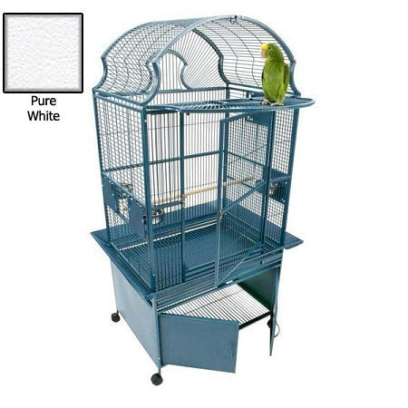 Small Fan Top Bird Cage - White