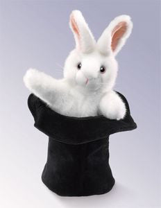Folkmanis Rabbit In Hat Hand Puppet - 2269 - Peazz.com