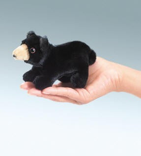 Folkmanis Mini Bear, Black Finger Puppet - 2641 - Peazz.com