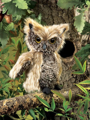 Folkmanis Owl, Screetch Turning Head Puppet - 2961 - Peazz.com