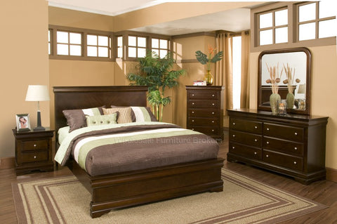 Alpine 3206CK 3206 California King Panel Bed In Cappuccino - Peazz.com