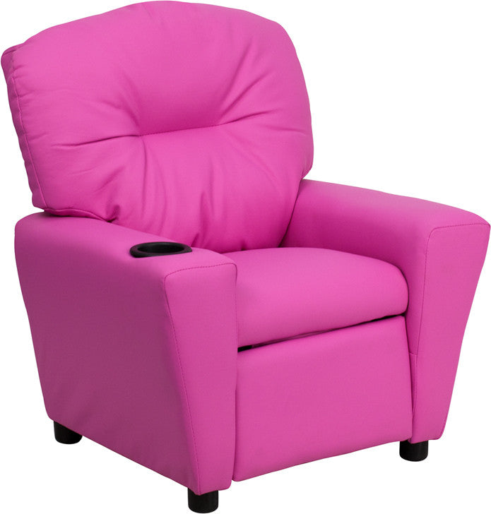 Contemporary Hot Pink Vinyl Kids Recliner with Cup Holder BT-7950-KID-HOT-PINK-GG by Flash Furniture FLA-BT-7950-KID-HOT-PINK-GG