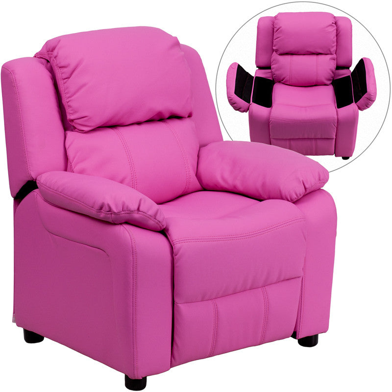 Flash Furniture BT-7985-KID-HOT-PINK-GG Deluxe Heavily Padded Contemporary Hot Pink Vinyl Kids Recliner with Storage Arms FLA-BT-7985-KID-HOT-PINK-GG