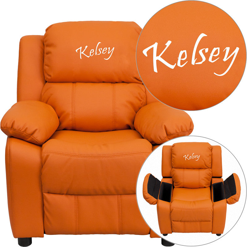 Flash Furniture BT-7985-KID-ORANGE-EMB-GG Personalized Deluxe Heavily Padded Orange Vinyl Kids Recliner with Storage Arms