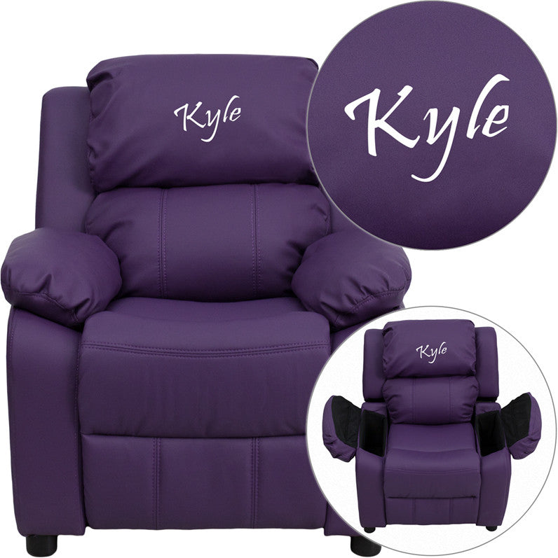 Flash Furniture BT-7985-KID-PUR-EMB-GG Personalized Deluxe Heavily Padded Purple Vinyl Kids Recliner with Storage Arms
