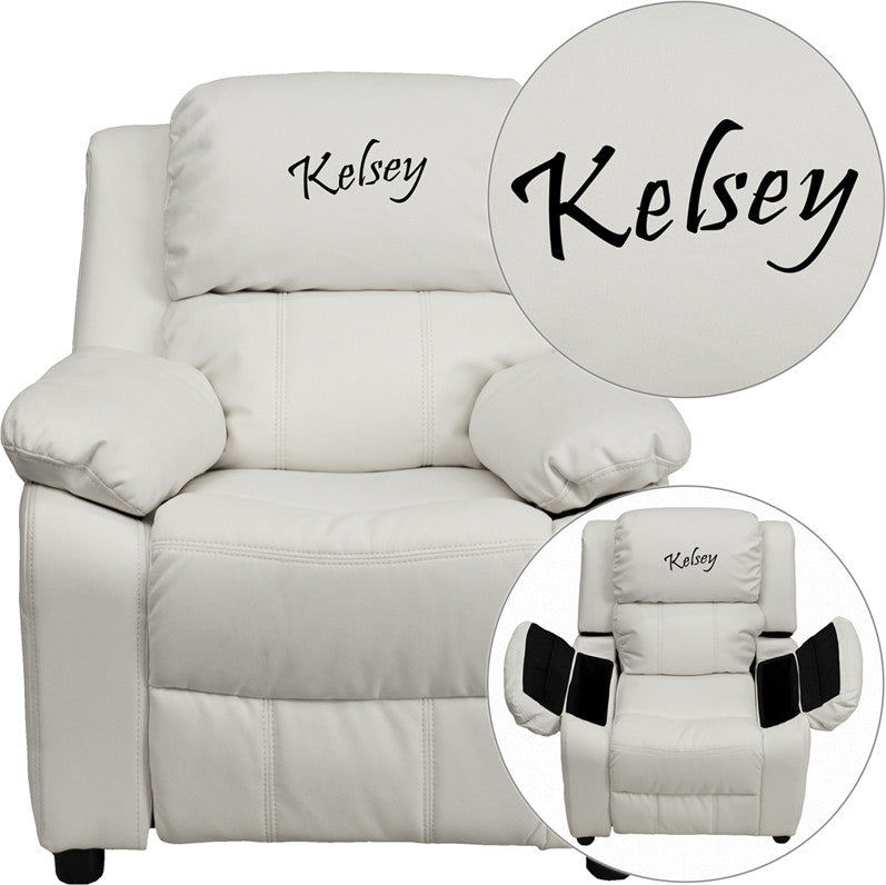 Flash Furniture BT-7985-KID-WHITE-EMB-GG Personalized Deluxe Heavily Padded White Vinyl Kids Recliner with Storage Arms