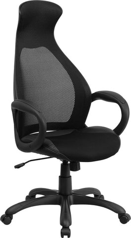 Flash Furniture CH-CX0528H01-BK-LEA-GG High Back Executive Black Mesh Chair with Leather Inset Seat - Peazz.com