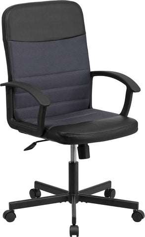 Flash Furniture CP-B301A01-BK-GY-GG Mid-Back Black Vinyl Task Chair with Dark Gray Mesh Inserts - Peazz.com
