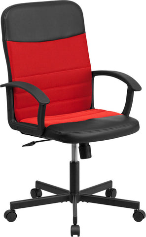 Flash Furniture CP-B301A01-BK-RD-GG Mid-Back Black Vinyl Task Chair with Red Mesh Inserts - Peazz.com