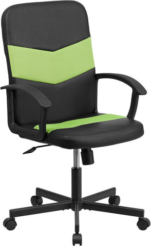 Flash Furniture CP-B301C01-BK-GN-GG Mid-Back Black Vinyl Task Chair with Green Mesh Inserts - Peazz.com
