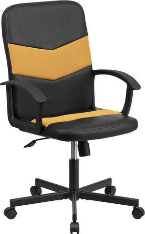Flash Furniture CP-B301C01-BK-OR-GG Mid-Back Black Vinyl Task Chair with Orange Mesh Inserts - Peazz.com