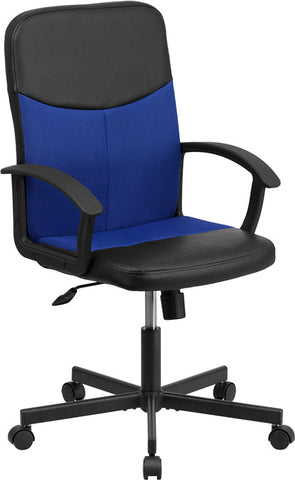 Flash Furniture CP-B301E01-BK-BL-GG Mid-Back Black Vinyl Task Chair with Blue Mesh Inserts - Peazz.com