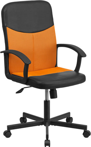 Flash Furniture CP-B301E01-BK-OR-GG Mid-Back Black Vinyl Task Chair with Orange Mesh Inserts - Peazz.com