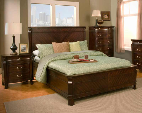 Alpine 9000-Q 9000 Queen Panel Bed In Cherry - Peazz.com
