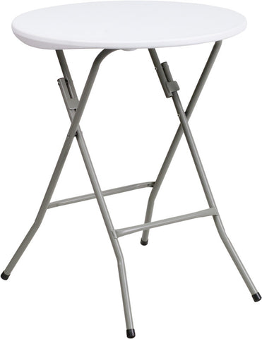 Flash Furniture DAD-YCZ-80R-1-SM-GW-GG 24'' Round Granite White Plastic Folding Table - Peazz.com
