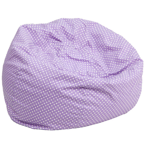 Flash Furniture DG-BEAN-LARGE-DOT-PUR-GG Oversized Lavender Dot Bean Bag Chair - Peazz.com