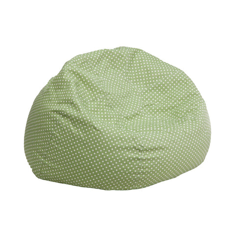 Flash Furniture DG-BEAN-SMALL-DOT-GRN-GG Small Green Dot Kids Bean Bag Chair - Peazz.com