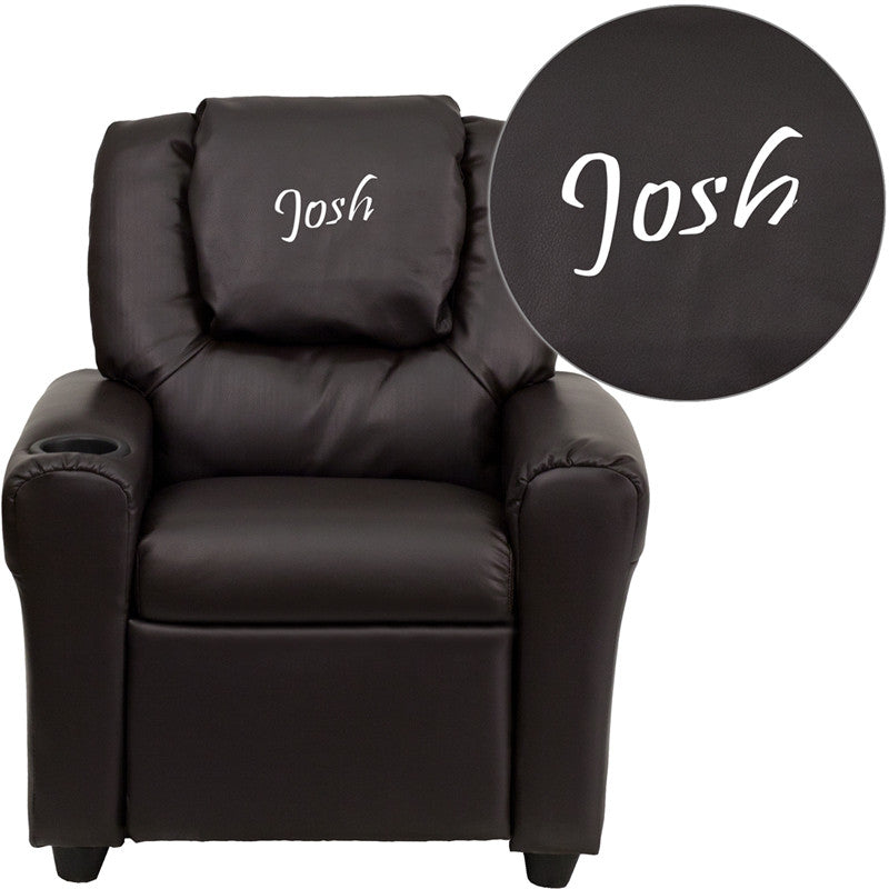 Flash Furniture DG-ULT-KID-BRN-EMB-GG Personalized Brown Vinyl Kids Recliner with Cup Holder and Headrest