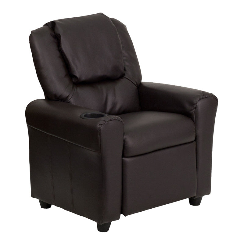 Contemporary Brown Vinyl Kids Recliner with Cup Holder and Headrest DG-ULT-KID-BRN-GG by Flash Furniture