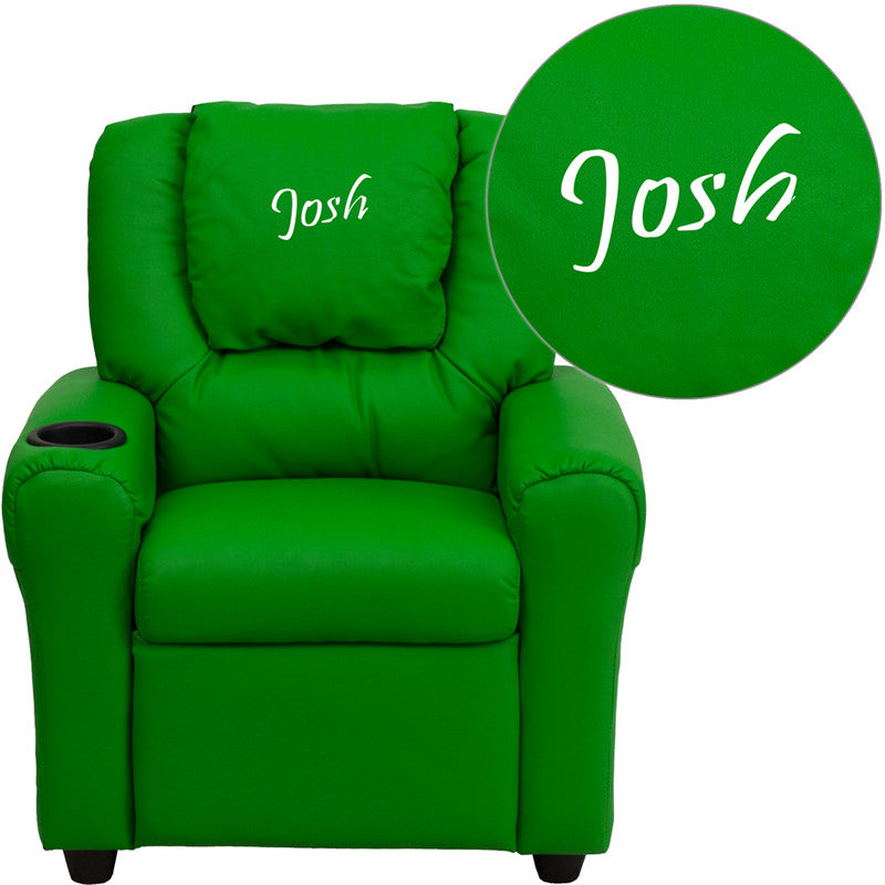 Flash Furniture DG-ULT-KID-GRN-EMB-GG Personalized Green Vinyl Kids Recliner with Cup Holder and Headrest - 1+ FLA-DG-ULT-KID-GRN-EMB-GG